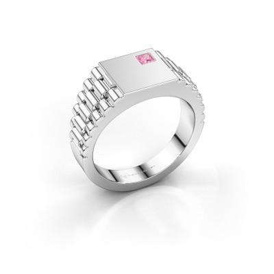 Foto van Rolex stijl ring Pelle 585 witgoud roze saffier 3 mm