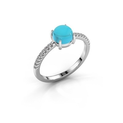Ring Cathie 585 witgoud blauw topaas 6 mm