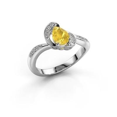 Foto van Ring Jonelle 925 zilver gele saffier 7x5 mm