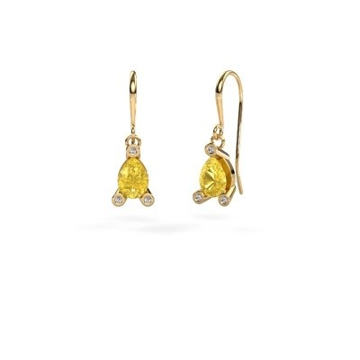 Picture of Drop earrings Bunny 1 585 gold yellow sapphire 7x5 mm