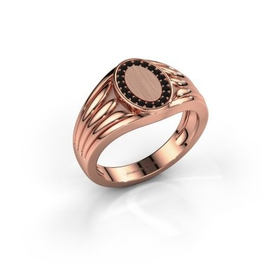 Foto van Pinkring Marinus 375 rosé goud zwarte diamant 0.18 crt
