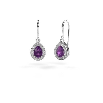 Picture of Drop earrings Beverlee 1 585 white gold amethyst 7x5 mm