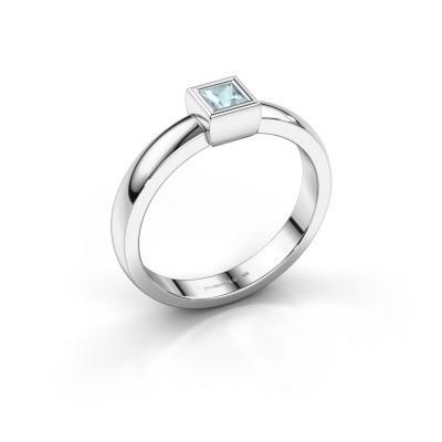 Ring Aimee 1 585 witgoud aquamarijn 3 mm