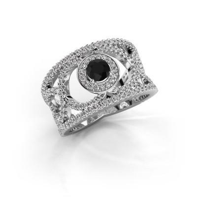 Foto van Ring Regina 950 platina zwarte diamant 1.31 crt