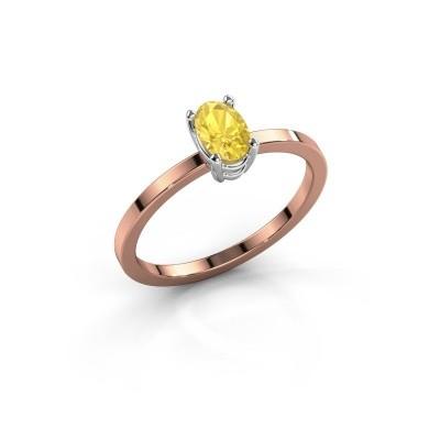 Foto van Ring Lynelle 1 585 rosé goud gele saffier 6x4 mm