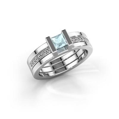 Foto van Ring Desire 925 zilver aquamarijn 4 mm