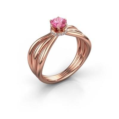 Verlovingsring Kimi 585 rosé goud roze saffier 5 mm