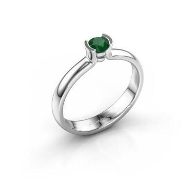 Foto van Verlovingsring Ophelia 585 witgoud smaragd 4 mm
