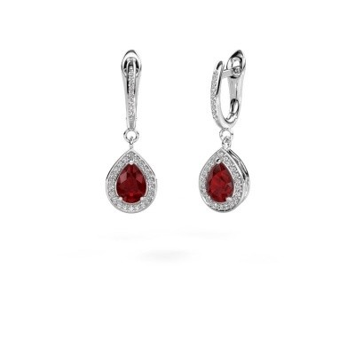 Picture of Drop earrings Ginger 2 585 white gold ruby 7x5 mm