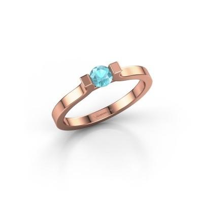 Foto van Verlovingsring Jodee 585 rosé goud blauw topaas 4 mm
