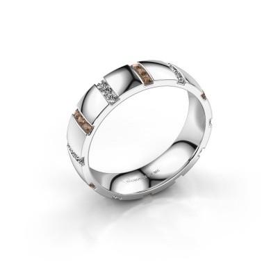 Huwelijksring Juul 585 witgoud bruine diamant ±5x1.8 mm