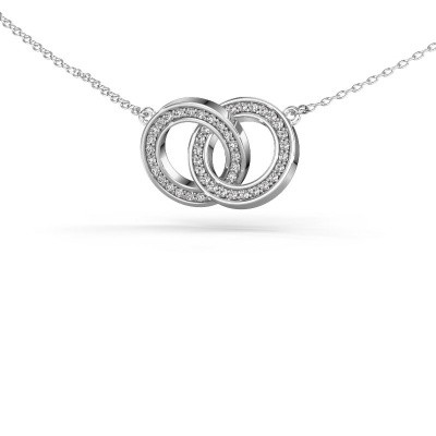Picture of Necklace Circles 2 585 white gold diamond 0.25 crt