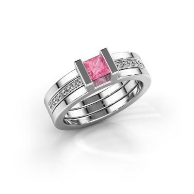 Foto van Ring Desire 925 zilver roze saffier 4 mm