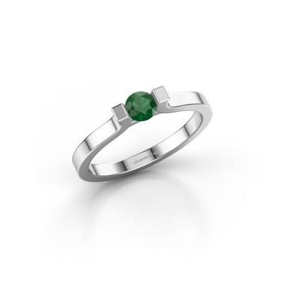 Foto van Verlovingsring Jodee 585 witgoud smaragd 4 mm