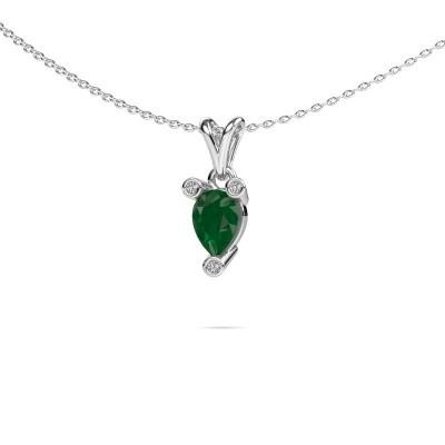 Foto van Ketting Cornelia Pear 950 platina smaragd 7x5 mm