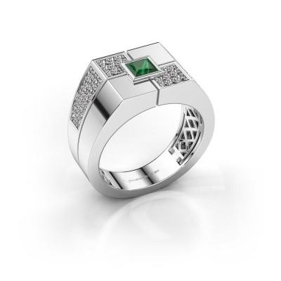 Foto van Heren ring Rogier 950 platina smaragd 4 mm