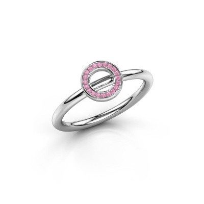 Foto van Ring Shape round small 750 witgoud roze saffier 0.8 mm