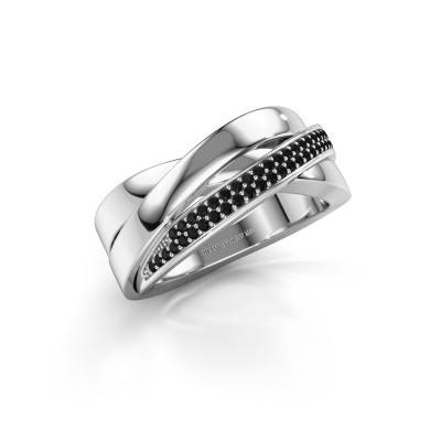 Foto van Ring Katherina 585 witgoud zwarte diamant 0.306 crt