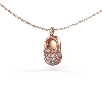 Picture of Pendant Babyshoe 375 rose gold zirconia 1.3 mm