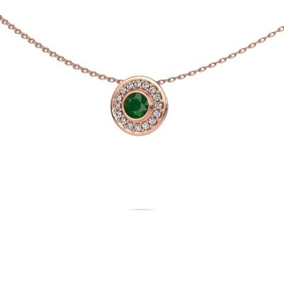 Picture of Necklace Gretta 375 rose gold emerald 4 mm