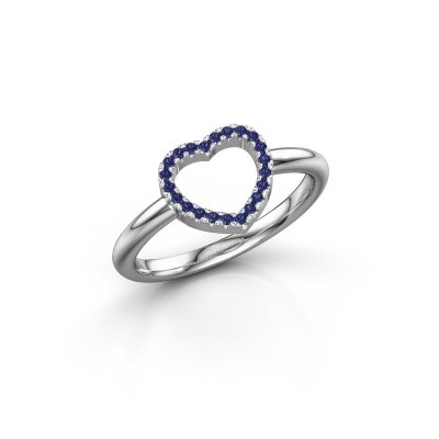 Foto van Ring Heart 7 925 zilver saffier 1 mm
