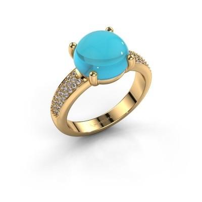 Foto van Ring Sophie 585 goud blauw topaas 10 mm