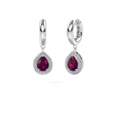 Picture of Drop earrings Barbar 1 950 platinum rhodolite 8x6 mm