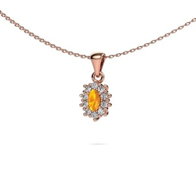 Picture of Necklace Leesa 375 rose gold citrin 6x4 mm