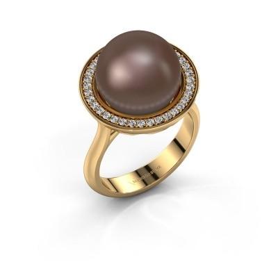 Foto van Ring Grisel 585 goud bruine parel 12 mm