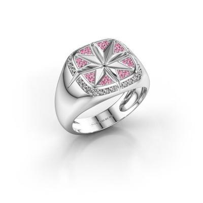 Foto van Heren ring Ravi 925 zilver roze saffier 1 mm