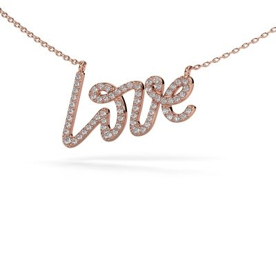 Foto van Hanger Love 375 rosé goud diamant 0.357 crt