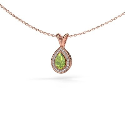 Picture of Necklace Ginger 375 rose gold peridot 6x4 mm