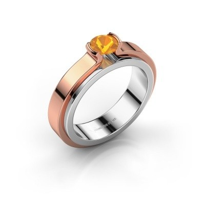 Verlobungsring Jacinda 585 Weissgold Citrin 4.7 mm