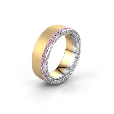 Trouwring WH2224L26C8 585 goud roze saffier 1.3 mm ±6x2.2 mm