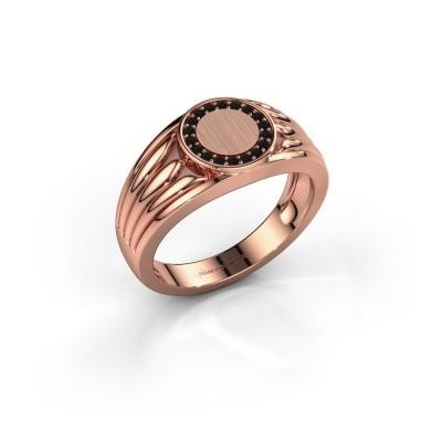 Foto van Pinkring Jacobus 585 rosé goud zwarte diamant 0.162 crt