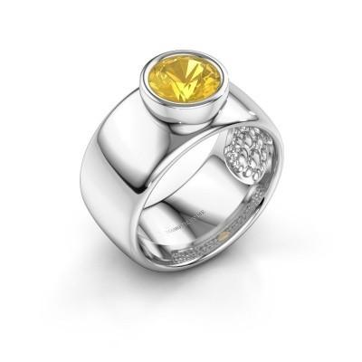 Foto van Ring Klarinda 925 zilver gele saffier 7 mm