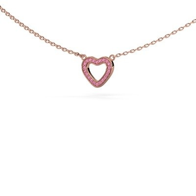 Picture of Pendant Heart 4 375 rose gold pink sapphire 0.8 mm