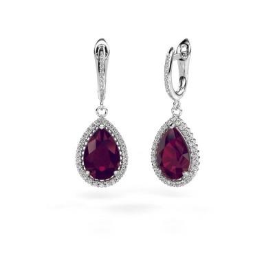 Picture of Drop earrings Hana 2 950 platinum rhodolite 12x8 mm