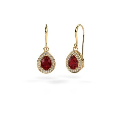 Picture of Drop earrings Beverlee 1 750 gold ruby 7x5 mm