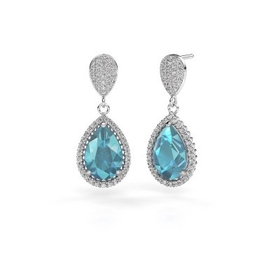 Picture of Drop earrings Cheree 2 950 platinum blue topaz 12x8 mm