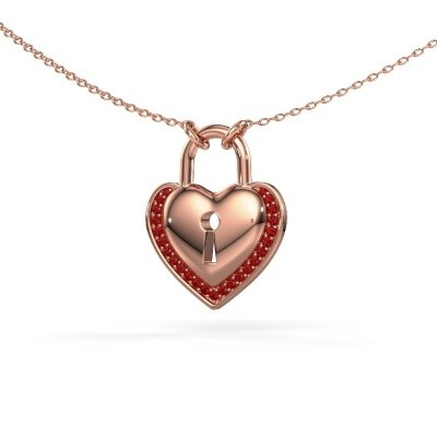 Picture of Necklace Heartlock 375 rose gold ruby 1 mm