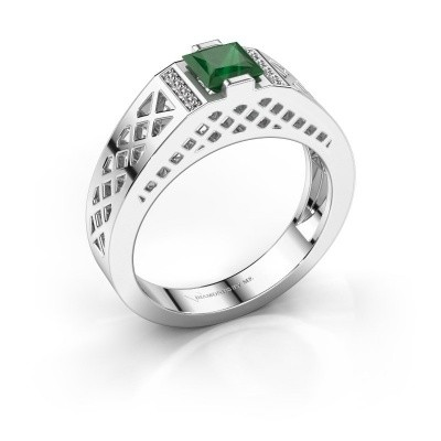 Foto van Heren ring Jonathan 950 platina smaragd 5 mm