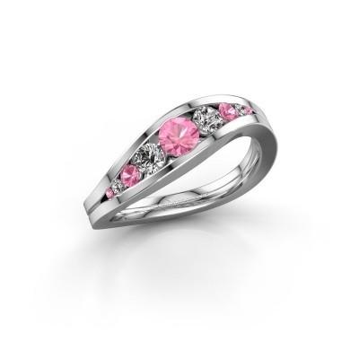 Foto van Ring Sigrid 2 950 platina roze saffier 4 mm