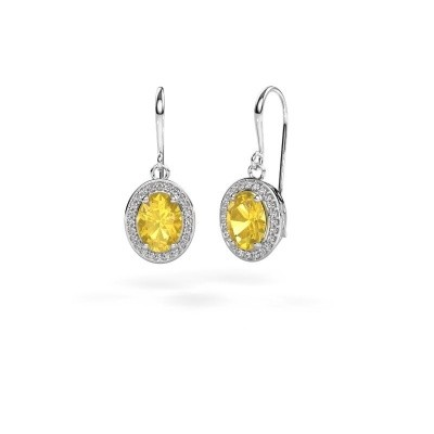Picture of Drop earrings Latesha 950 platinum yellow sapphire 8x6 mm