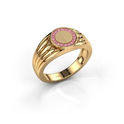 Foto van Pinkring Jacobus 585 goud roze saffier 1.2 mm
