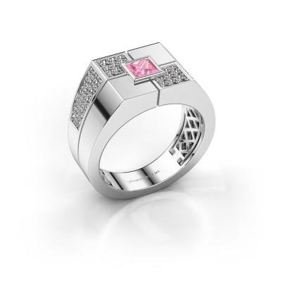Foto van Heren ring Rogier 950 platina roze saffier 4 mm