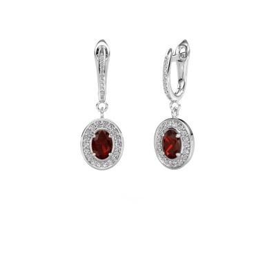 Picture of Drop earrings Layne 2 950 platinum garnet 7x5 mm