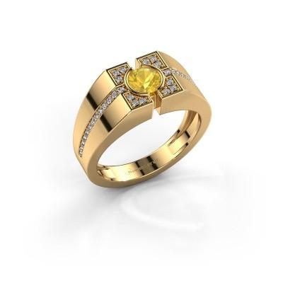 Foto van Herenring Thijmen 585 goud gele saffier 5 mm