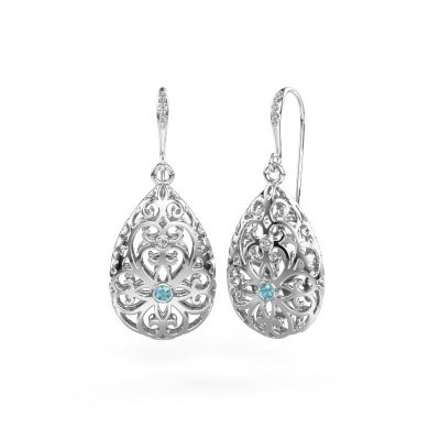 Picture of Drop earrings Idalia 2 585 white gold blue topaz 2 mm