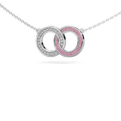 Picture of Necklace Circles 1 925 silver pink sapphire 1 mm
